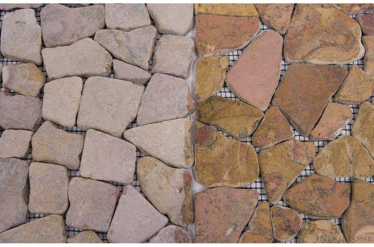 RED SQUARE czerwona ŁAMANA mozaika kamienna na siatce INDUSTONE