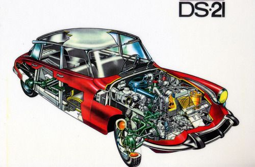 """theoldiebutgoodie: """"Citroen DS21 cutaway by daviddb on Flickr. """" Citroën DS"""