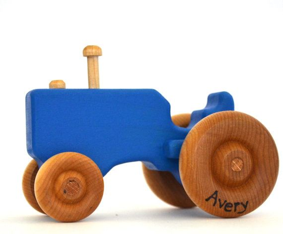 Blue Wood Toy Tractor – Personalized Wooden Toy – Push Toy – Toddler Toy Nick