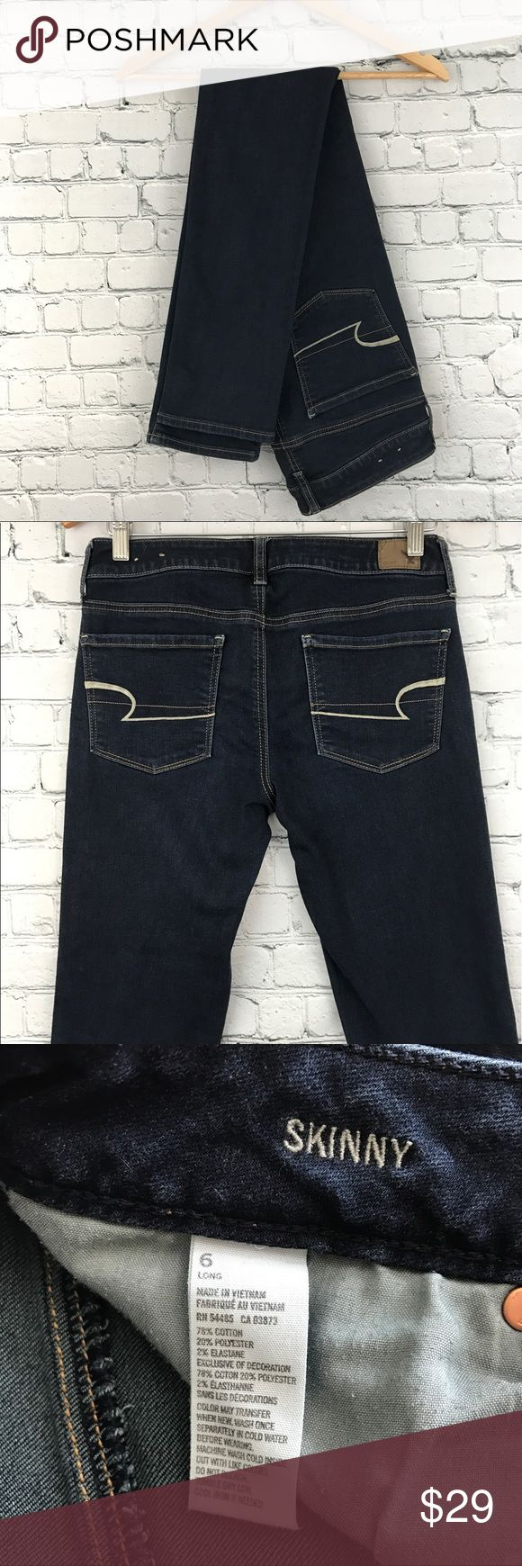 {American Eagle} Dark Wash Skinny Jean 6 Tall Excellent condition! My favorite brand of denim. Size 6 TALL. Some stretch. No trades, modeling, or lowballs please 😘 American Eagle Outfitters Jeans Skinny