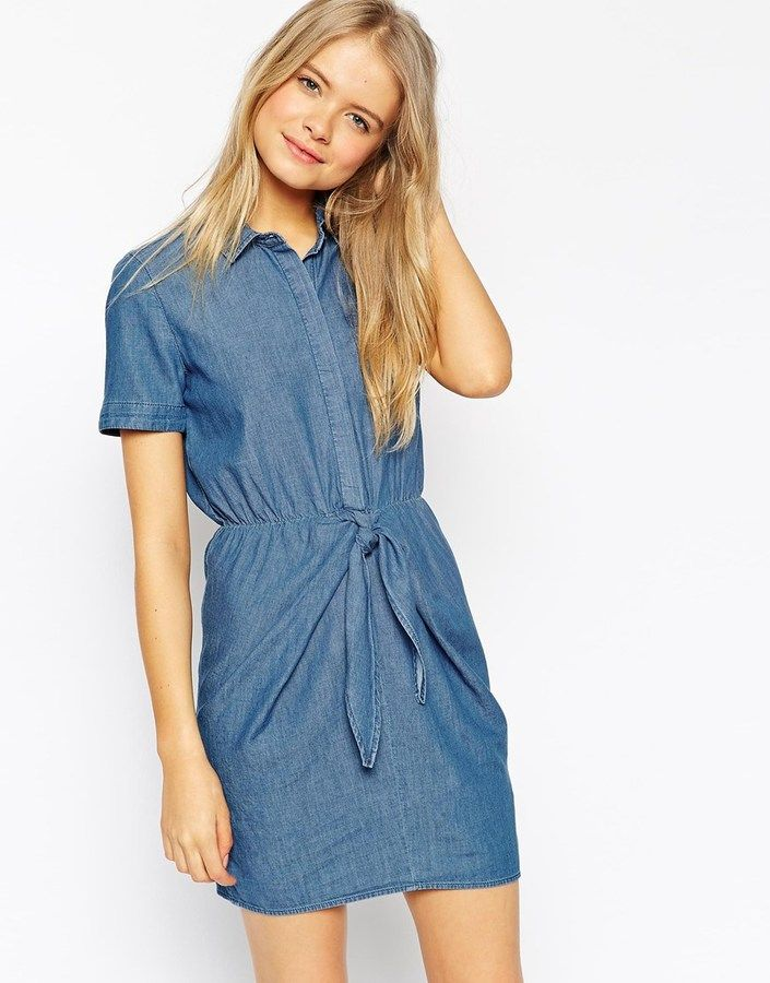 ASOS COLLECTION ASOS Denim Tie Front Shirt Dress in Light Stonewash Blue