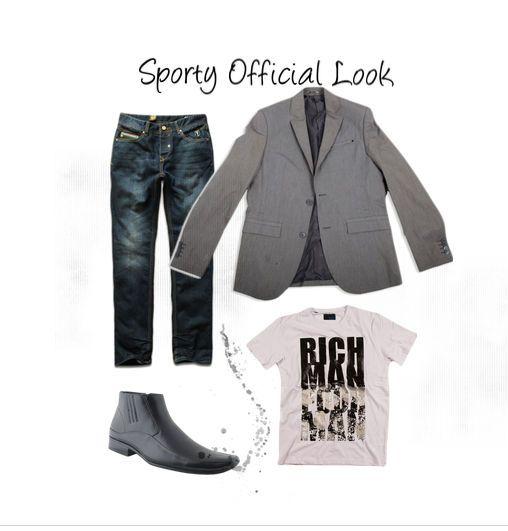 Sporty official Look www.millenniumshop.gr #millenniumshop #suit jacket #men's jeans #jeans