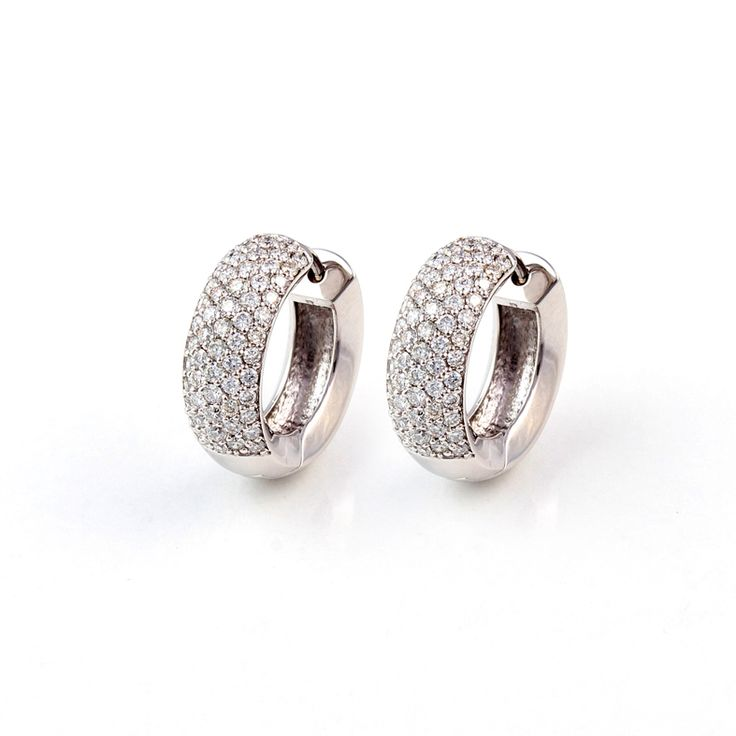 14ct(585) White Gold Earring With 1.57ct TW-VS Diamonds.By Golden Eye Jewellery Alanya Turkey