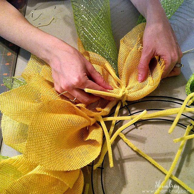 Yellow Burlap, green deco mesh, wire wreath form, chenille stems