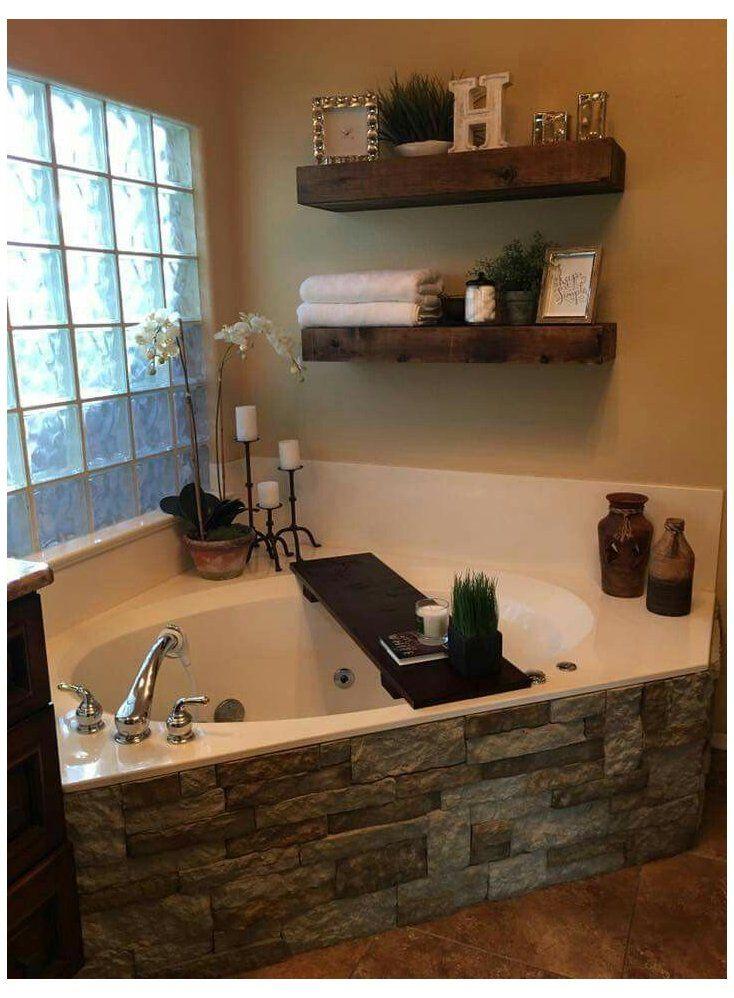 Garden Tub Decor Master Bath In 2020 Bathtub Decor Master Bathroom Decor Rustic Master Bathroom