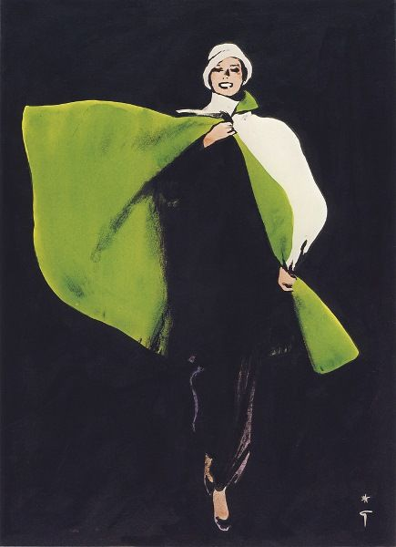 green cape : I love this artist... always the perfect amount of abstract. Fashion Illustration by Rene Gruau