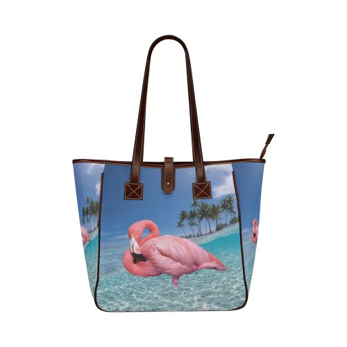 Flamingo and Palms Classic Tote Bag. FREE Shipping. #artsadd #bags #flamingos