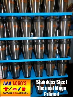 Printed Thermal Mugs or Engraved thermal mugs / Stainless Steel Mugs make great Promotional products have them personalized with your brand http://www.aaalogos.com.au/thermalmugs.htm