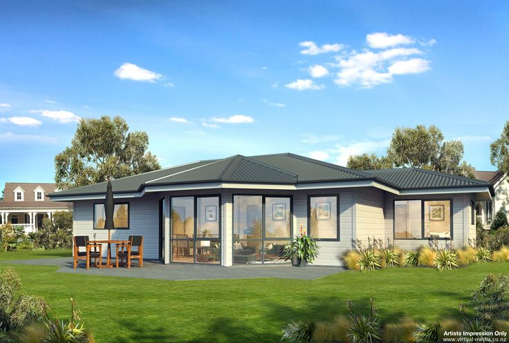 Rifleman - 99sqm This plan is dominated by a part-hexagonal shaped front to the living area, adding space, inviting sunshine and warmth and creating an exciting exterior. The kitchen flows to the large open plan dining and living area.