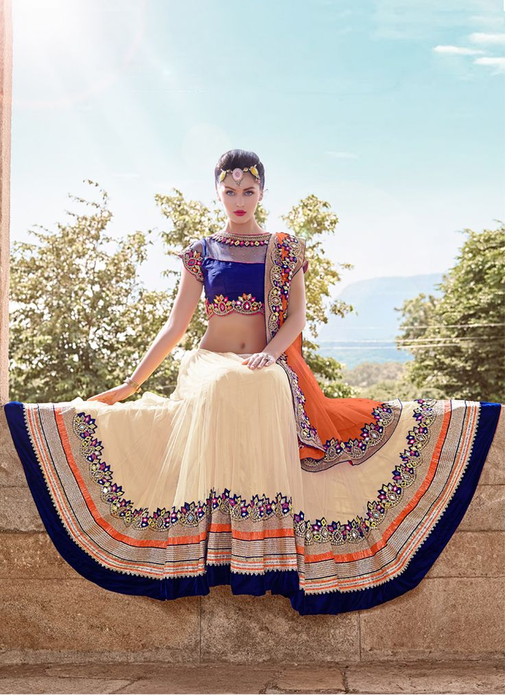 Khantil Crame And Blue Unique Designer Lahenga Choli #Lehenga #Cream #Blue…