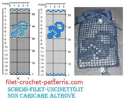 Baby pacifier favor bag free filet crochet pattern