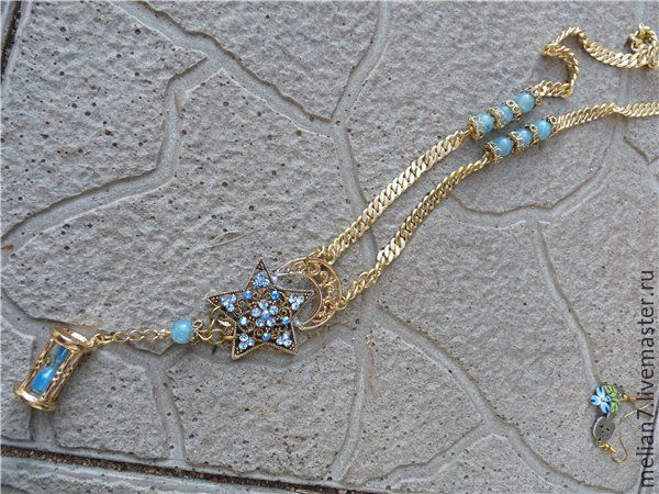 Купить Голубая звезда - кулон - голубой, звезда, стразы, песочные часы, латунь с позолотой