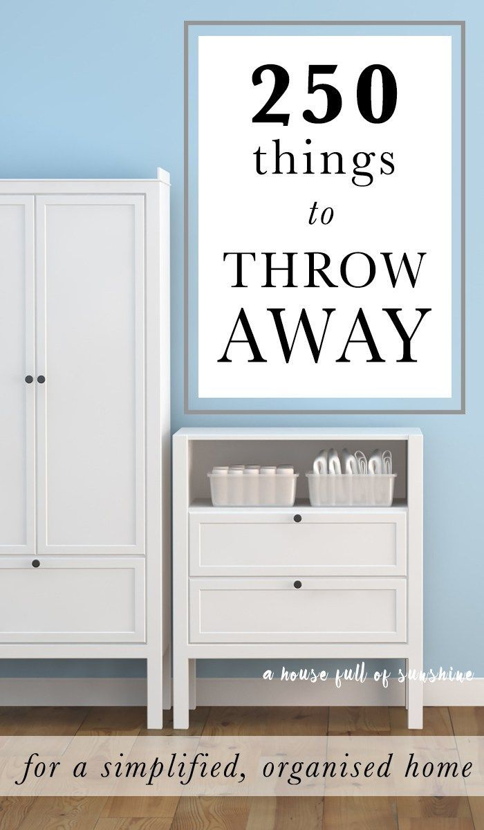 250 Things to Throw Away for a simplified, organized home. This is like the mother of all organizing lists! It covers it all!!