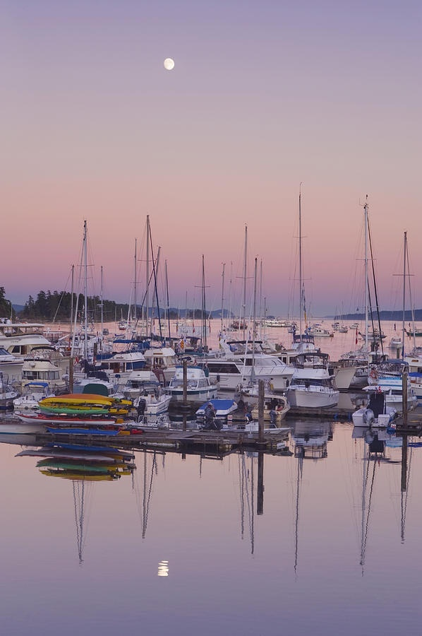 ✯ Full Moon Over Ganges Harbor -Saltspring island, where I'll be this weekend ;)