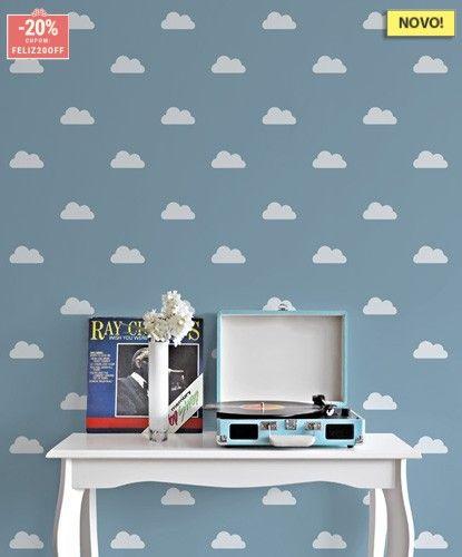 Armario Modulado Quarto Casas Bahia ~ Kit de Adesivos de Parede Nuvem Branca quarto do chico Pinterest Adesivos de parede