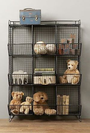 Wire baskets vs wicker (don't love this option because not movable by children, but I like the aesthetic)