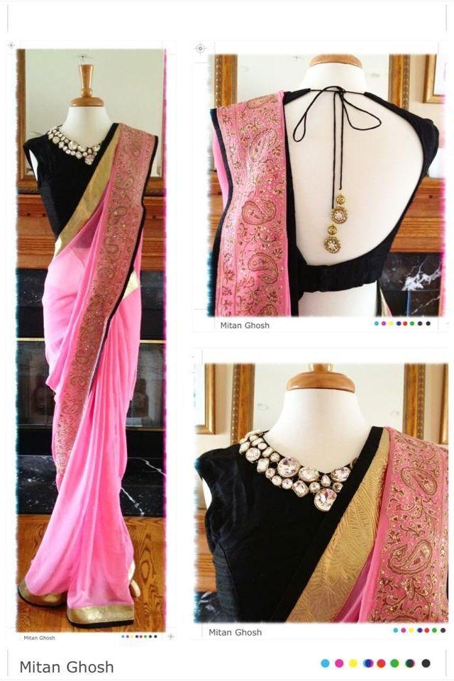 Mitan Ghosh Pink #Saree With Jewel Collar Black #Blouse.
