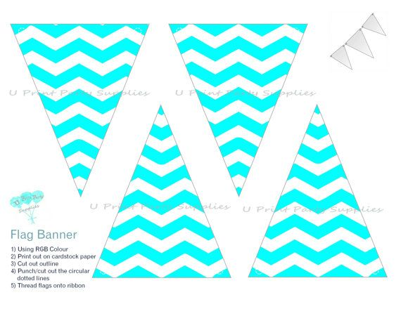 Instant Download~Flag Banner~Chevron Cyan~ by U Print Party Supplies, $4.00