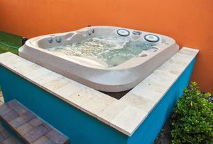 Transitional Hot Tub with exterior brick floors, Fence