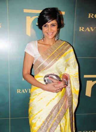 Mandira Bedi Yellow Sibori Print Satin Georgette Banglori Silk Lace Work Sarees http://www.angelnx.com/featuredproduct/