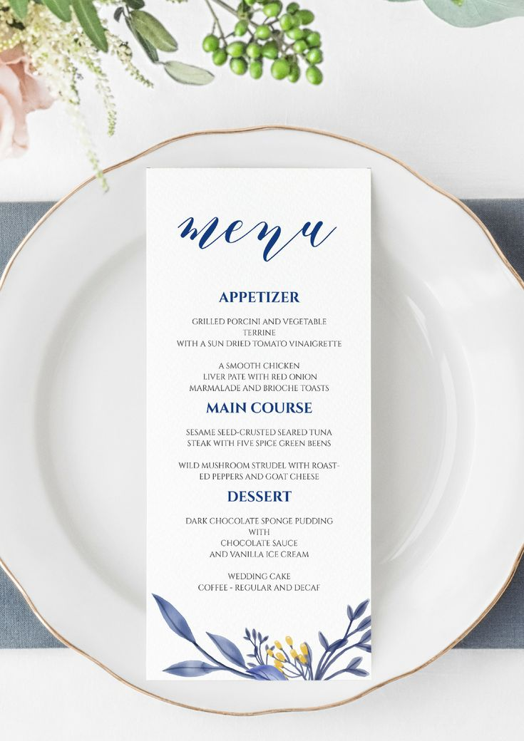 blue wedding menu printable template dinner menu template