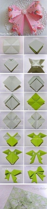 ThanksThis cute paper folded bow would be awesome to put on my sold items from my shop. awesome pin