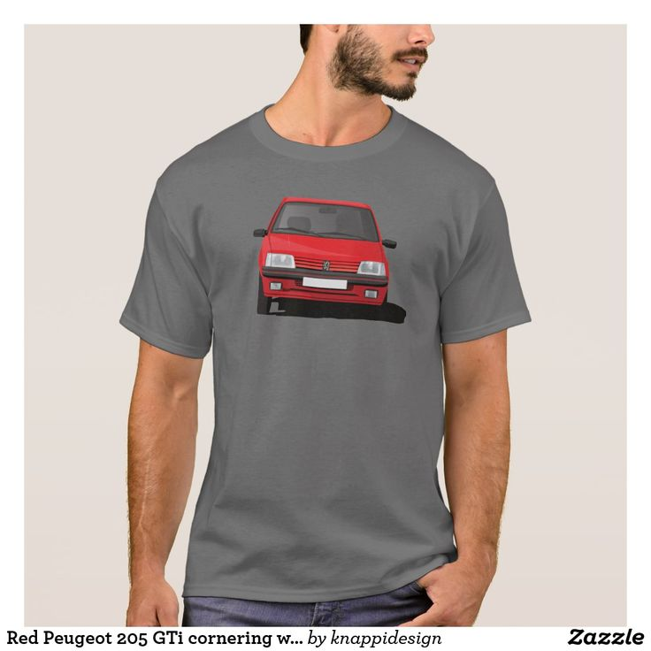 Red Peugeot 205 GTi cornering without badge t-shirt.  Red cornering Peugeot 205 GTi with a GTi badge. #peugeot205 #peugeot #peugeot205gti #205gti #gti #frenchcars #automobiles #cars #automobile #car #cornering #classiccars #80s #80scars #hothatch #hothatches #sportcars #automobileillustrations #carillustration #illustration #badge #customizable