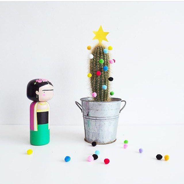 Frida's feelin' festive again ⭐️ throwback from Frida's 1st  Christmas on Instagram.  #PomPomCactus