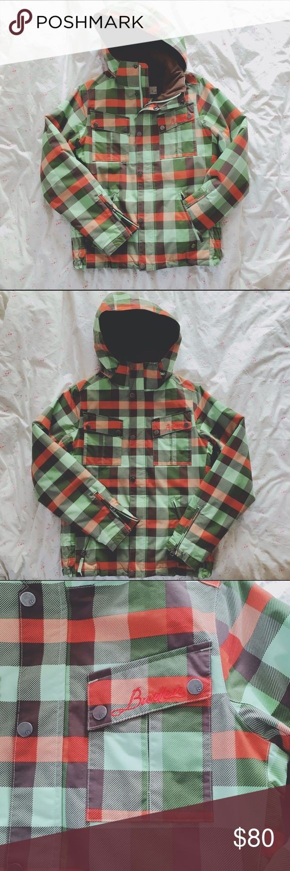 BURTON 🌻 Plaid Snowboard Jacket Super cute, super warm women's snowboard jacket from Burton. I love this coat but I live I. Thailand and won't be needing it there. 😎 Only wore this a few times, in great condition. Also has removable fur trim that buttons on the hood. Burton Jackets & Coats