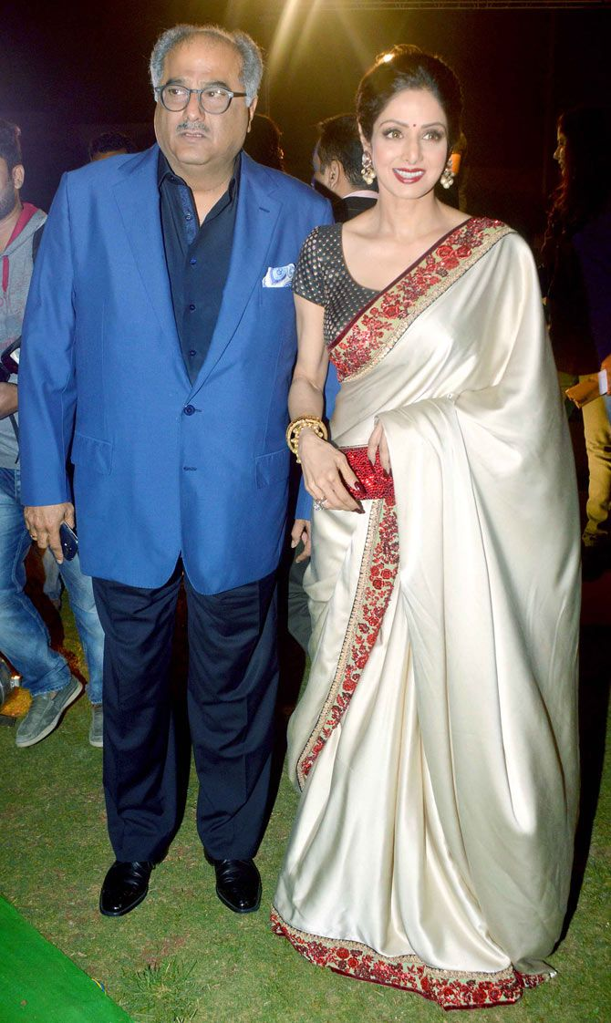 Sridevi with husband Boney Kapoor at the music launch of 'Shamitabh'. #Bollywood #Fashion #Style #Beauty