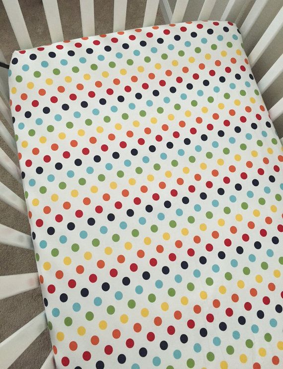Crib Sheets  Riley Blake Medium Dots Rainbow by LullabiesLollipops