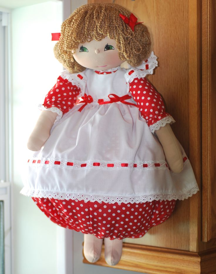 Introducing Melanie, she is the first plastic bag holder doll that I have made with legs!