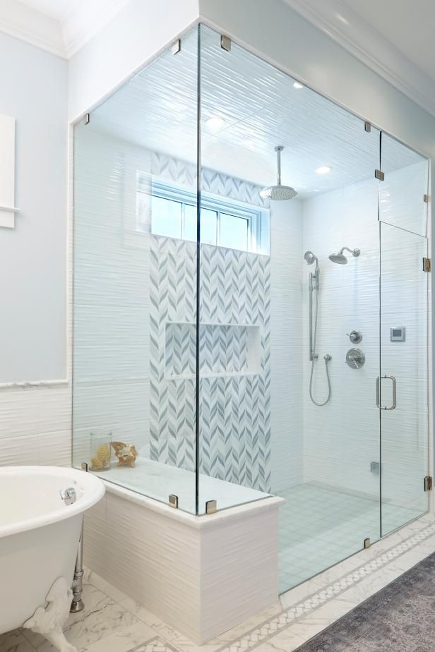 Check Out This Spacious Walk In Shower With Glass Panels On Hgtv Com Guest Bathroom Renovation Master Bathroom Shower Bathroom Remodel Shower