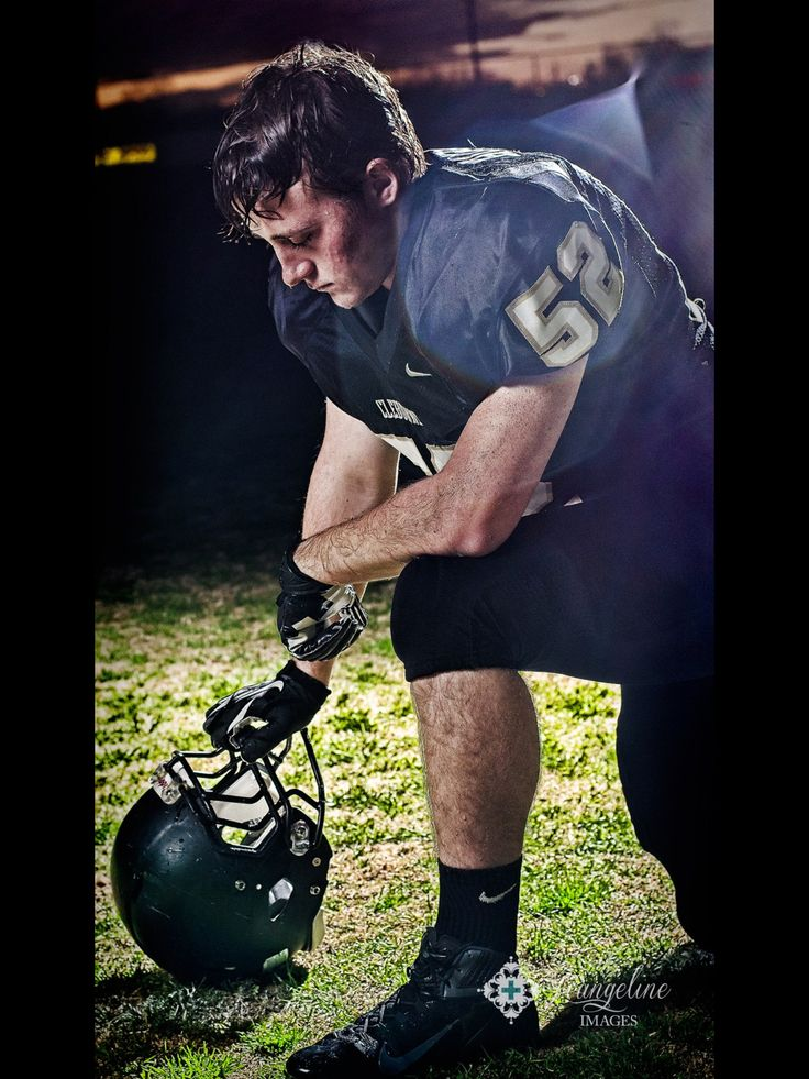 Senior boy, football player, emotional pose need this from his last game!