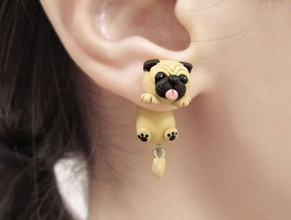 This is a pair of cute fat pug dog two-part earrings. They fit perfectly on your lobes. These earrings can be a great gift for animal lovers! Extremely unique! Each dog earring is about an 2.5 cm long (excluding the tail) and comfortable for all day wear. This pair of earring stud is made out of polymer clay, painted with acrylic paint and finished with a glaze. Earring backs are surgical steel earring posts. The earring post is embedded in the base for better durability. Please note that…
