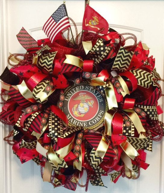 Military Wreath, US Marine Corp Wreath, USMC Wreath, Military Gift, Custom Wreath