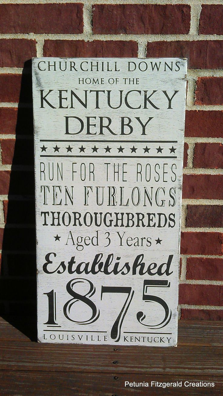 12x24 Kentucky Derby Word Art Painted Sign by petuniafitzgerald