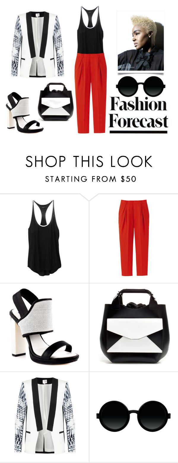 """Fashion Forecast - Cool Sophistication"" by latoyacl ❤ liked on Polyvore featuring rag & bone, Uniqlo, BCBGMAXAZRIA, Zara, Parker, Moscot, round sunglasses, color block handbags, racerback tank tops and top handle bags"