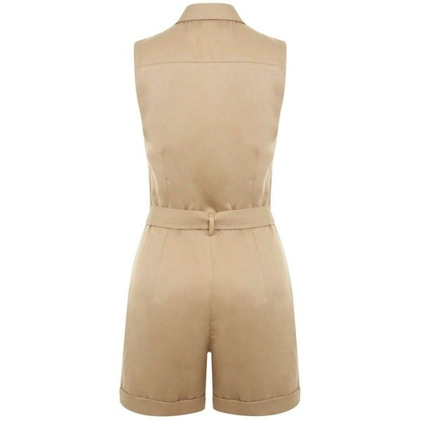 Miss Selfridge Camel Belted Utility Playsuit ($26) ❤ liked on Polyvore featuring jumpsuits, rompers, camel, playsuit romper and miss selfridge