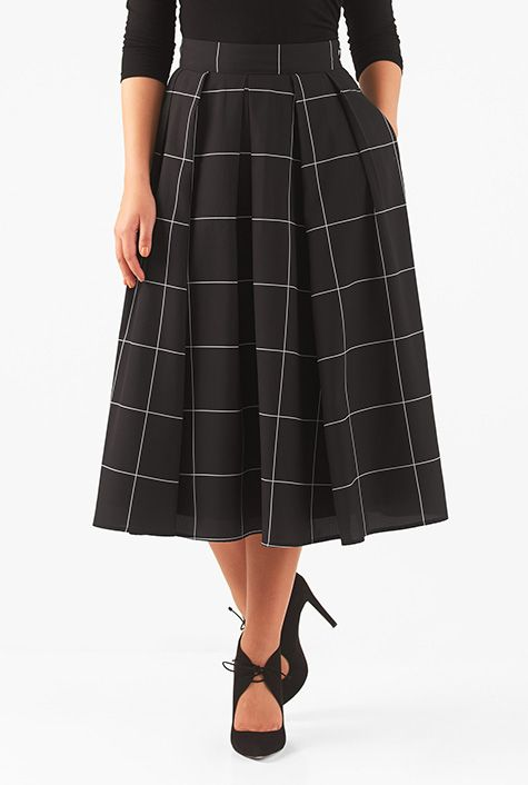 Windowpane check print crepe skirt #eShakti