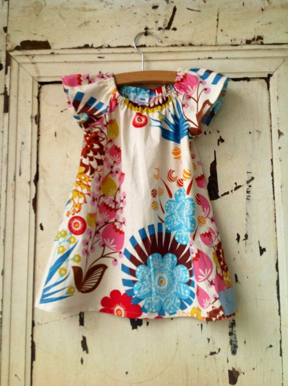 Children's Modern Dress  Florals and Birds in by zoegirldesigns, $31.50