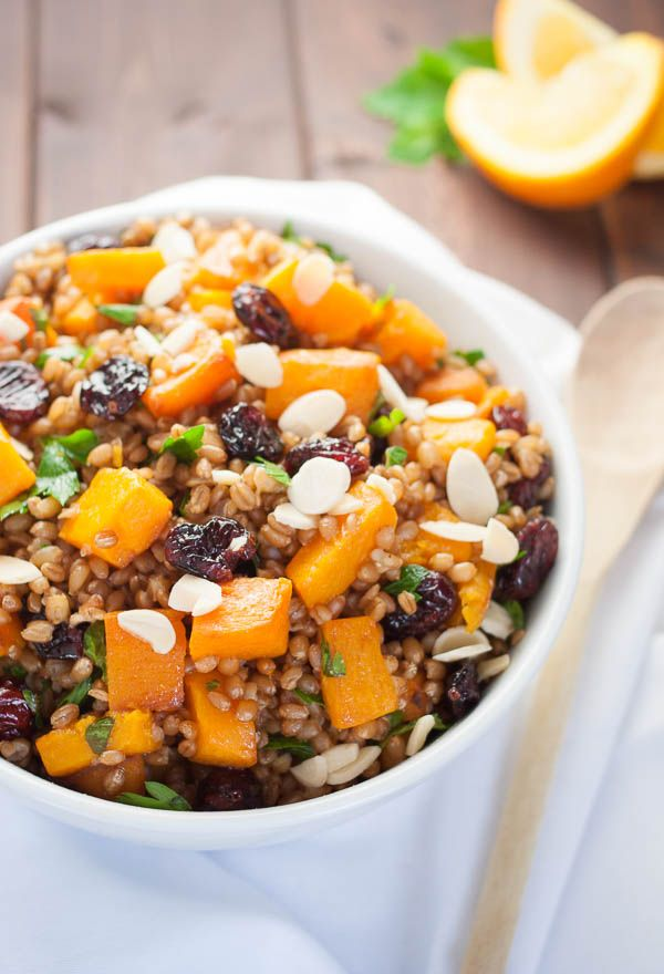 Autumn Wheat Berry Salad with sweet butternut squash, plump dried cranberries and orange vinaigrette. | realfoodandicecream.com