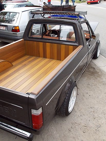 Volkswagen pickup with hardwood bed lining