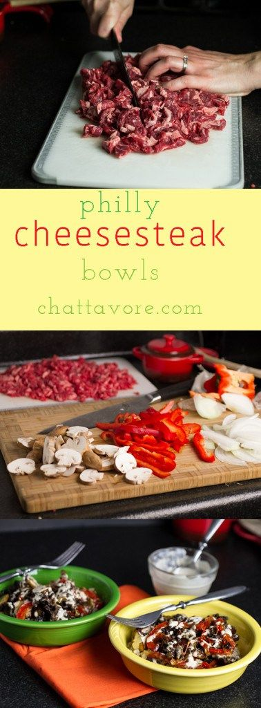 This Philly cheesesteak bowl is everything you love about a Philly cheesesteak sandwich...piled on top of a bowl of rice! | recipe from Chattavore.com