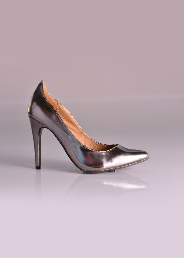 On trend! This pair of pointed metallic pewter heels are a chic and elegant choice as pewter has elegant muted tones so doesn't come across as too flashy. Only at Bride&co (style MDN781). Click to View more or Get the Price!