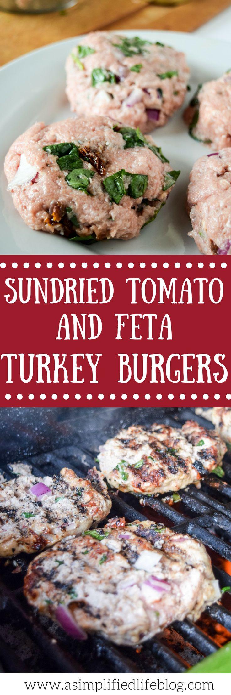 turkey burger recipe   turkey burgers   how to make turkey burgers   healthy bbq ideas   sundried tomato and feta turkey burgers   summer grilling ideas  