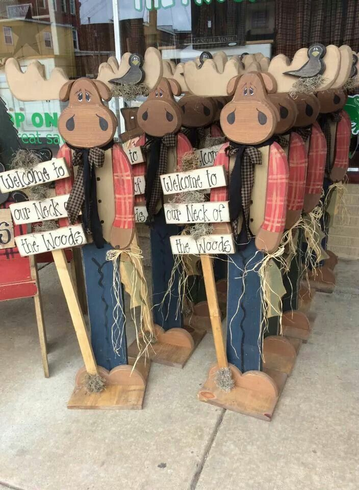 Tall rustic wood craft .  Moose wood craft
