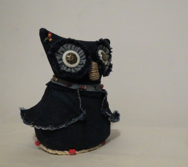 Coruja Decorativa - Jeans Owl Decoration - Jeans