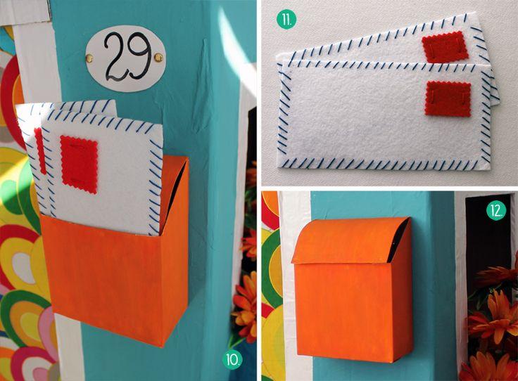 Cómo hacer una casita de cartón, buzón y cartas de fieltro
