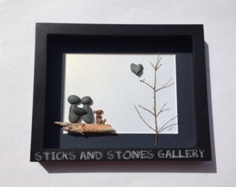 Pebble Art Engagement Gift Beach Glass Art Unique by SticksnStone